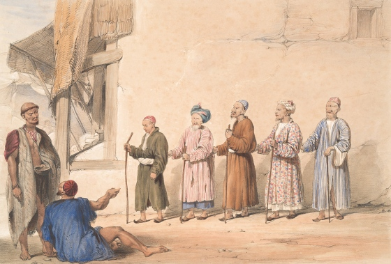 Cabul - A kuttar or string of blind beggars - 1843